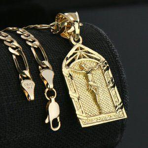 """Jesus Temple 14k Gold PT Pendant 5mm 18"""" Necklace"""